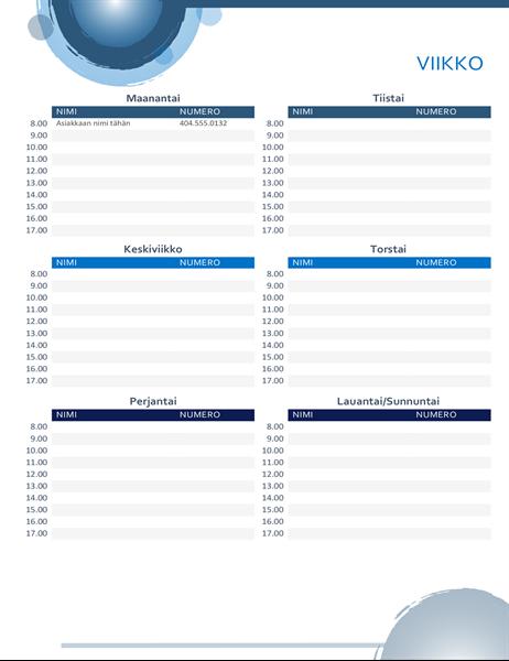 Tapaamiskalenteri (siniset pallot)