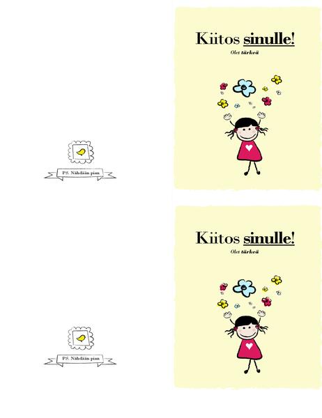 Kiitoskortti (pieni tyttö)