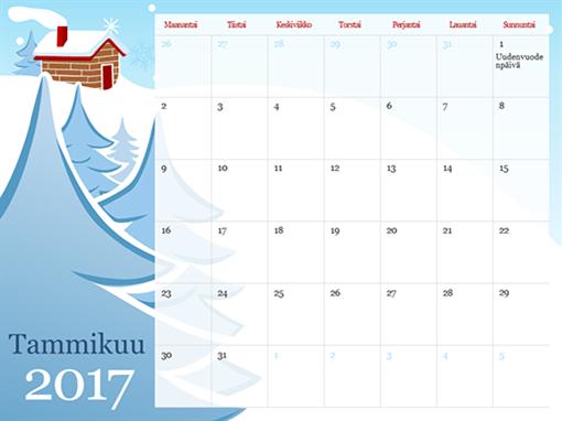 Kuvitettu vuodenaikakalenteri 2015 (ma–su)