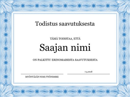Todistus saavutuksesta (sininen)