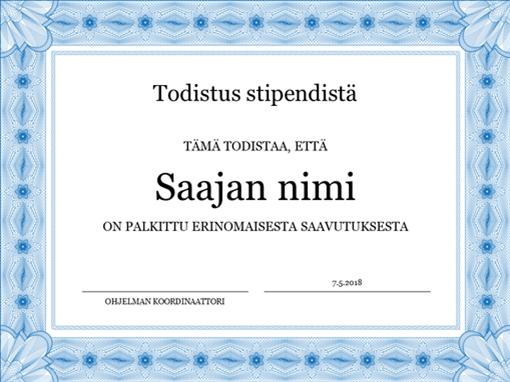 Todistus stipendistä (muodollinen sininen reunus)