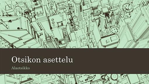 Toimistoesitys kaupunkiluonnostaustakuvalla (laajakuva)