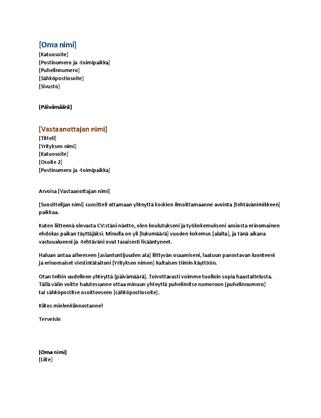 Käytännöllinen ansioluettelon saatekirje (sopii yhteen käytännöllisen ansioluettelon kanssa)