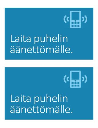 Matkapuhelinten sammutuksen muistutusjuliste (sininen)