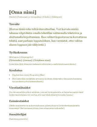 Ansioluettelo (vihreä)