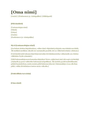 Ansioluettelon saatekirje (vihreä)