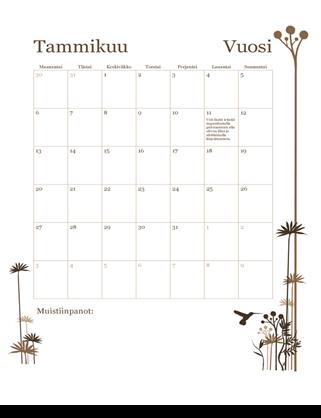 12 kuukauden kalenteri (ma–su)