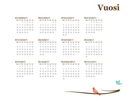 Vuosikalenteri 2018 (ma–su)