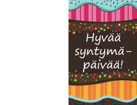Syntymäpäiväkortti - pilkut ja raidat (lapset, taitettava)