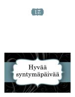 Syntymäpäiväkortti (sininen nauha, taitettava)