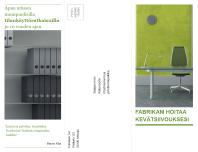 Kolmeen osaan taitettava yritysesite (vihreä ja musta)