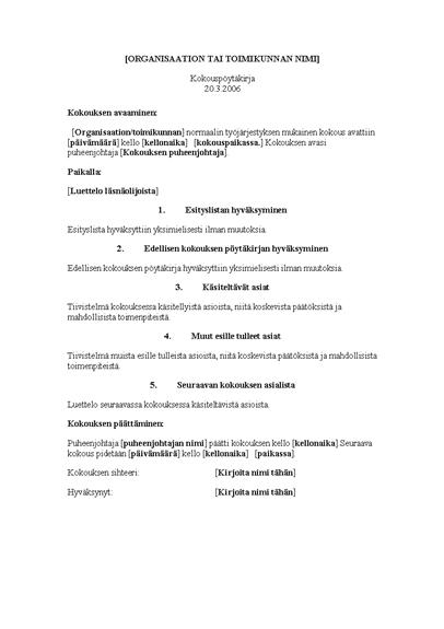 Organisaation kokouksen pöytäkirja (pitkä malli)