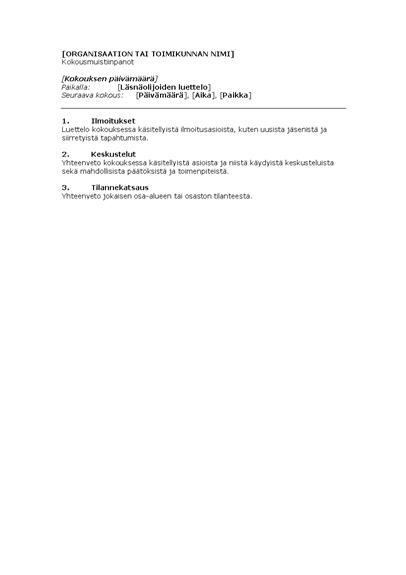 Organisaation kokouksen pöytäkirja (lyhyt malli)