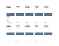 Käyntikortit, pystysuora asettelu, jossa logo, vasemmalle tasattu teksti