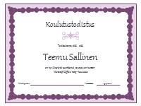 Todistus harjoittelusta (violetti ketju)