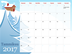 Kuvitettu vuodenaikakalenteri vuodelle 2017 (ma–su)