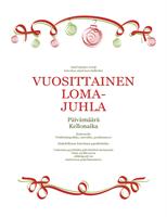 Kutsu lomajuhliin, punaiset ja vihreät koristeet (virallinen)