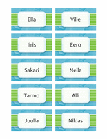 Nimi- tai istumapaikkakortit (pilvimalli, 10/sivu)