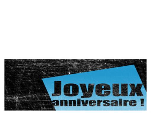 Verjaardagskaart, bekraste achtergrond (zwart, blauw, in tweeën gevouwen)