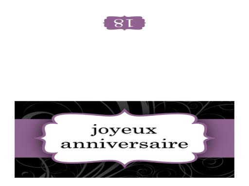 Carte d'anniversaire (ruban violet, deux volets)