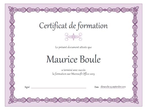 Certificat de formation (chaîne violette)