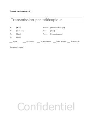 Modèles Pages de garde de télécopie Page de garde de télécopie