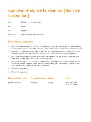 Compte-rendu de réunion (conception orange)