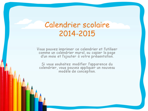 calendrier scolaire 2014 2015 avec vacances office templates. Black Bedroom Furniture Sets. Home Design Ideas