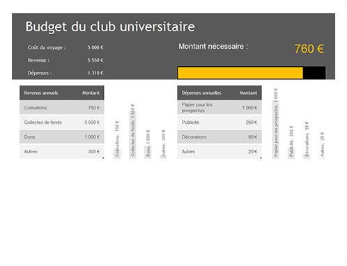 Budget du club universitaire