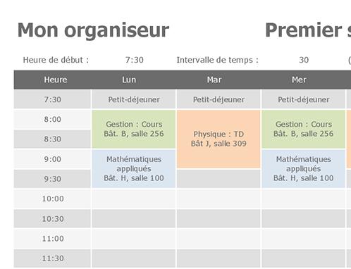 Célèbre Emploi du temps - Office Templates XU44