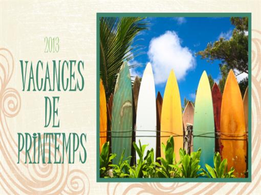 Album des vacances de printemps (conception plage, grand écran)