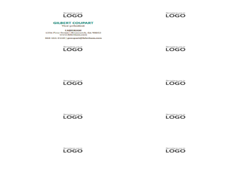 Cartes de visite, disposition horizontale, avec logo (10par page)