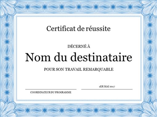 Certificat de réussite (bordure bleue de caractère officiel)