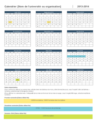 Calendrier scolaire 2014