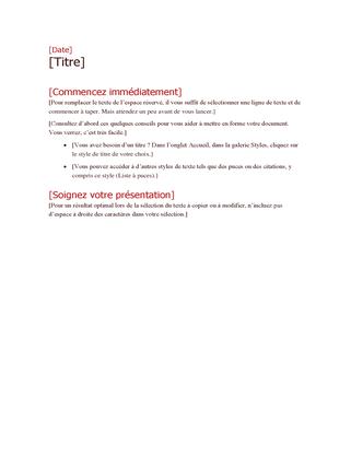 Définition d'un plan de projet (gras)