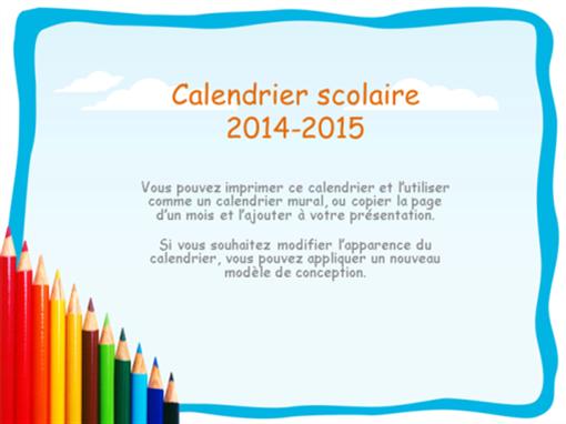 Calendrier scolaire 2014-2015 avec vacances