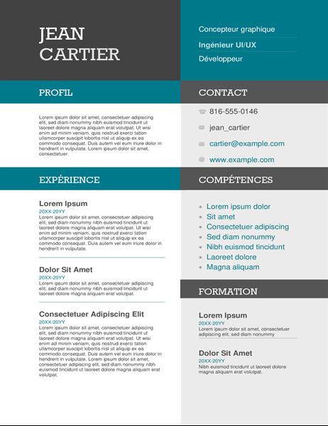 CV avec blocs de couleur