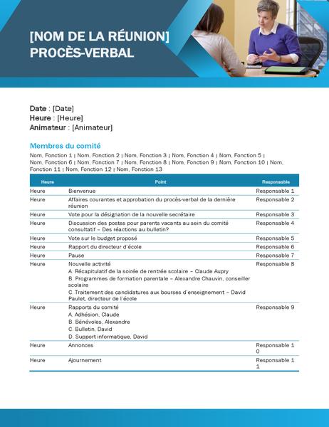 Procès-verbal de réunion pédagogique bleu