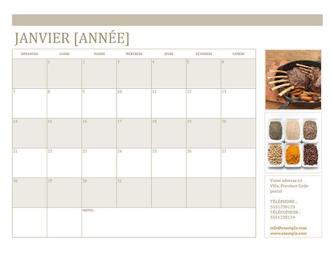 Small business calendar with photos (any year, Sun-Sat)