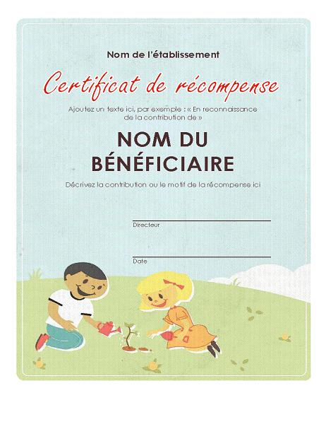 Elementary award certificate
