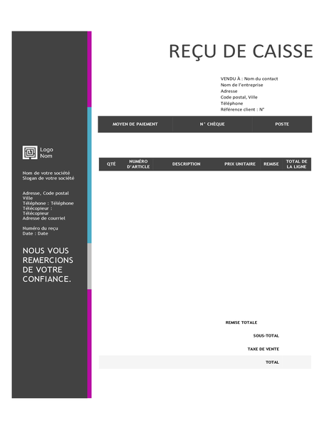Sales receipt (Blue Gradient design)