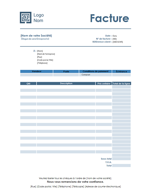 Service invoice (Simple Blue design)