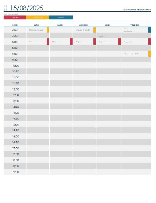 Weekly college schedule