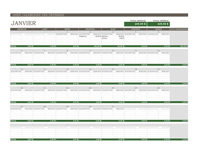Calendrier des dépenses (universel)