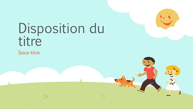 Children playing education presentation design (cartoon illustration, widescreen)