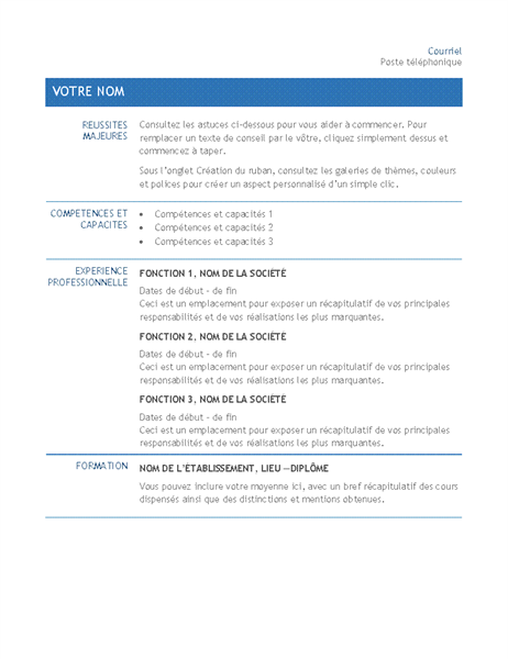 Resume for internal company transfer