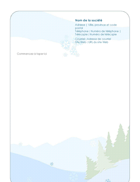 Winter stationery letterhead