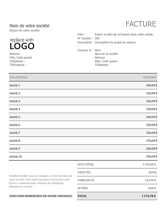 Invoice with sales tax