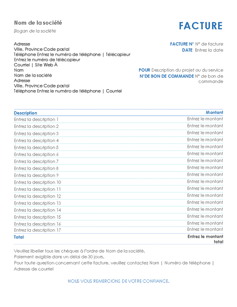 Service invoice