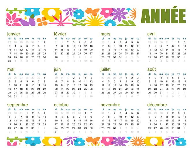 Playful calendar for any year